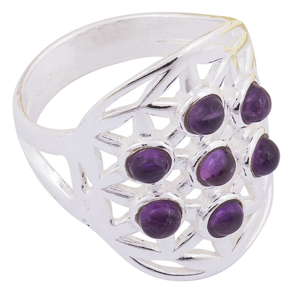 Amethyst Flower of Life 925 Silver Ring Size 8