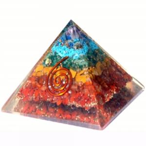 Orgone Pyramid - 7 Chakra Spiral 7cm