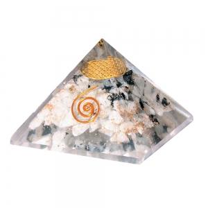 Flower of Life Moonstone Orgone Pyramid 7cm