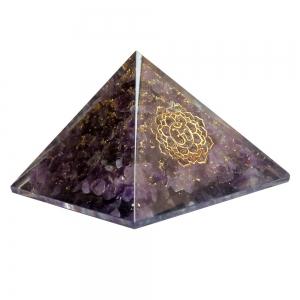 Amethyst Orgone Pyramid Crown Chakra 7cm