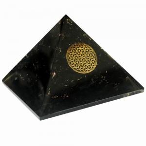 Orgone Pyramid - Black Tourmaline Fower of Life 7cm