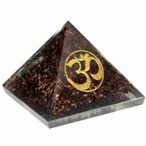 Orgone Pyramid - Garnet with Om 7cm