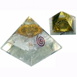 Orgone Pyramid - Selenite Shri Yantra 4cm