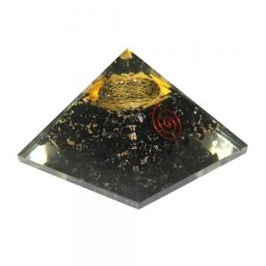 Orgone Pyramid - Black Tourmaline with Sri Yantra 4cm