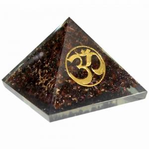Orgone Pyramid - Garnet with Om 4cm