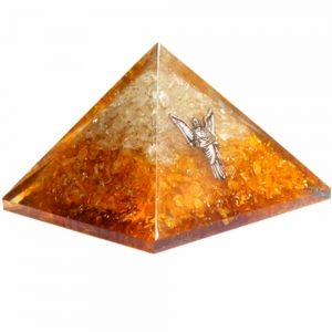 Orgone Pyramid - Citrine and Quartz with Arcangel Uriel 4cm