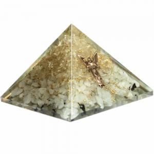 Orgone Pyramid - Moonstone and Quartz with Arcangel Gabriel 4cm