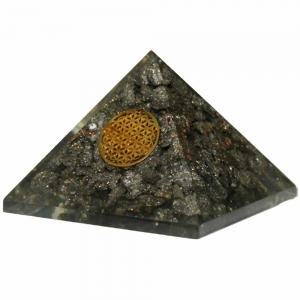 Orgone Pyramid - Pyrite with Flower of Life 4cm