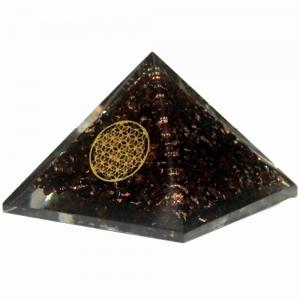 Orgone Pyramid - Garnet with Flower of Life 4cm