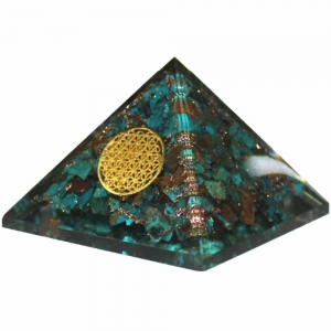 Orgone Pyramid - Chrysocolla with Flower of Life 4cm