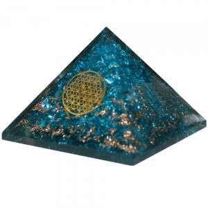 Orgone Pyramid - Blue Topaz with Flower of Life 4cm