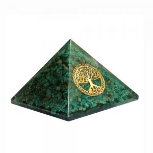 Orgone Pyramid - Chrysocolla with Tree of Life 4cm