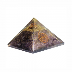 Orgone Pyramid - Amethyst with Quartz Point and Copper Spiral 4cm