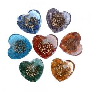 Chakra Puffed Hearts 5cm (Set of 7)