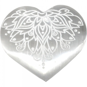 HEART - Selenite with Lotus Engraving 7cm