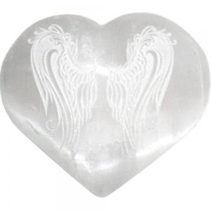 HEART - Selenite with Angel Wings Engraving 7cm