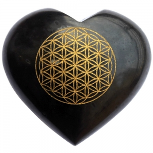 HEART - Black Tourmaline with Flower of Life 7.5cm