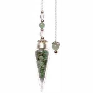 Green Aventurine Chips Glass Teardrop Pendulum