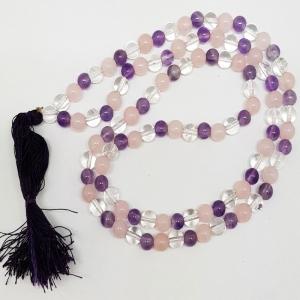 PRAYER MALA - Amethyst, Rose Quartz and Quartz