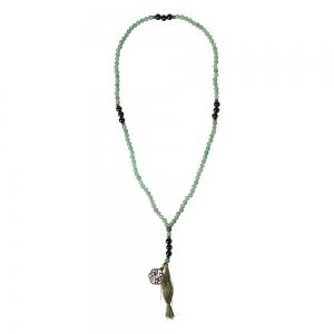 PRAYER MALA - Green Aventurine and Black Onyx with Celtic Knot