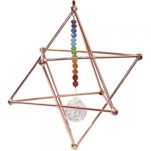 Copper Hanging Merkabah with Chakra 15cm