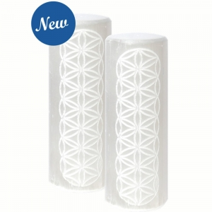 HARMONIZERS - Selenite Cylinder Flower of Life Engraved 3.8cm x 10cm (Set of 2)