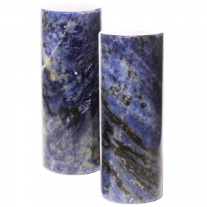 MEDITATION CHARGERS -Sodalite with Black Tourmaline Cylinder Pair 3.8cm x 10cm
