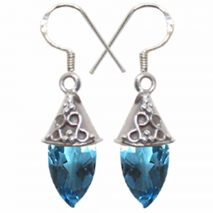 Blue topaz Faceted Drop Silver Earings