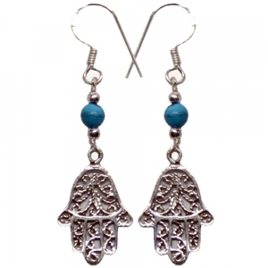 Hands of Fatima Turquoise 925 Silver Earings