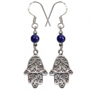 Hands of Fatima Lapiz 925 Silver Earings