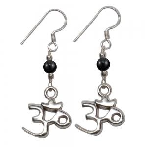 Black Obsidian Om 925 Silver Earings