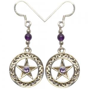 Pentacle Amethyst 925 Silver Earings