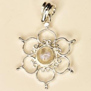 SILVER PENDANT - Rainbow Moonstone Lotus
