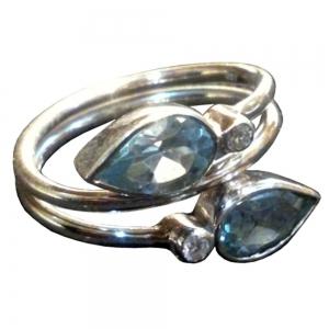 Blue Topaz Stones 925 Silver Ring