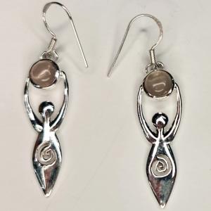 Rose Quartz Goddess Silver Earings