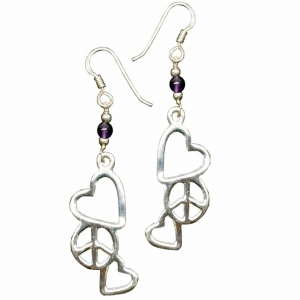 Amethyst Peace and Love Silver Earings