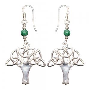 Malachite Celtic Tree 925 Silver Earings