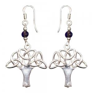Amethyst Celtic Tree 925 Silver Earings