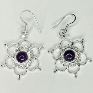 Amethyst Lotus Silver Earings