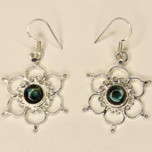 Labradorite Lotus Silver Earings