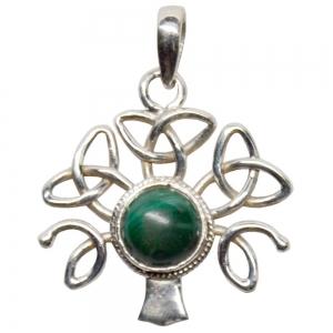 SILVER PENDANT - Malachite Celtic Tree