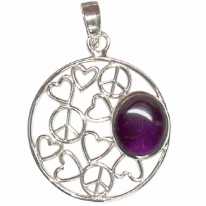 SILVER PENDANT - Amethyst Peace and Love