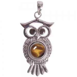 SILVER PENDANT - Brown Tiger Eye Owl