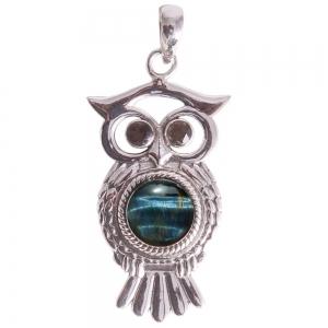 SILVER PENDANT - Blue Tiger Eye Owl