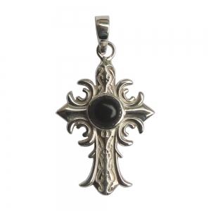 SILVER PENDANT - Black Obsidian Cross