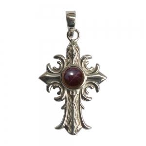 SILVER PENDANT - Garnet Cross