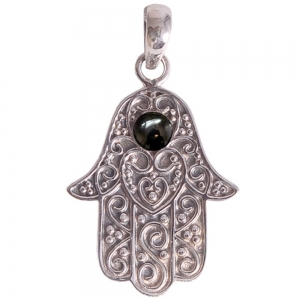 SILVER PENDANT - Hand of Fatima Obsidian 2cm