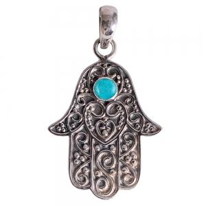 SILVER PENDANT - Hand of Fatima Turquoise 2cm