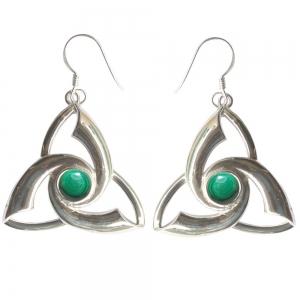 Malachite Triquetra 925 Silver Earings