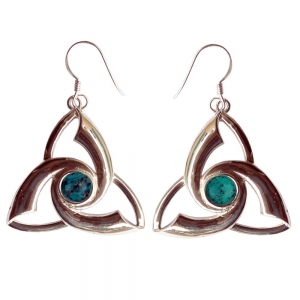 Chrysocolla Triquetra 925 Silver Earings